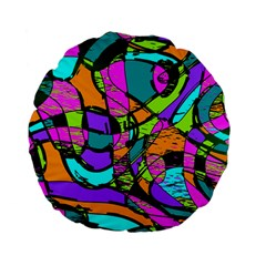 Abstract Art Squiggly Loops Multicolored Standard 15  Premium Flano Round Cushions by EDDArt
