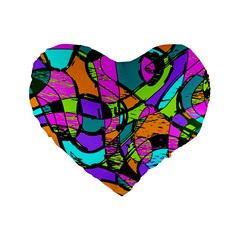 Abstract Art Squiggly Loops Multicolored Standard 16  Premium Flano Heart Shape Cushions by EDDArt