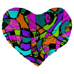 Abstract Art Squiggly Loops Multicolored Large 19  Premium Flano Heart Shape Cushions by EDDArt