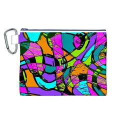 Abstract Art Squiggly Loops Multicolored Canvas Cosmetic Bag (l) by EDDArt