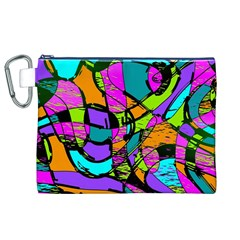 Abstract Art Squiggly Loops Multicolored Canvas Cosmetic Bag (xl) by EDDArt