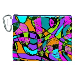 Abstract Art Squiggly Loops Multicolored Canvas Cosmetic Bag (xxl) by EDDArt