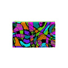 Abstract Art Squiggly Loops Multicolored Cosmetic Bag (xs) by EDDArt