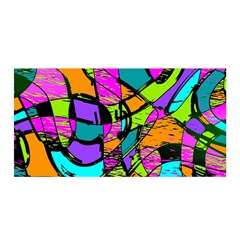 Abstract Art Squiggly Loops Multicolored Satin Wrap by EDDArt