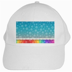 Rainbow Background Border Colorful White Cap by Amaryn4rt