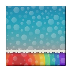 Rainbow Background Border Colorful Tile Coasters by Amaryn4rt