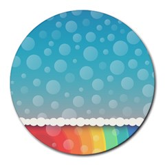 Rainbow Background Border Colorful Round Mousepads by Amaryn4rt