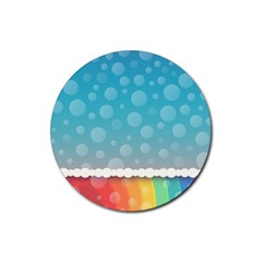 Rainbow Background Border Colorful Rubber Round Coaster (4 Pack)  by Amaryn4rt