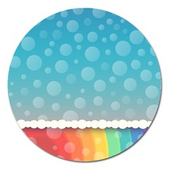 Rainbow Background Border Colorful Magnet 5  (round) by Amaryn4rt