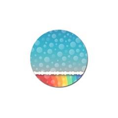 Rainbow Background Border Colorful Golf Ball Marker by Amaryn4rt