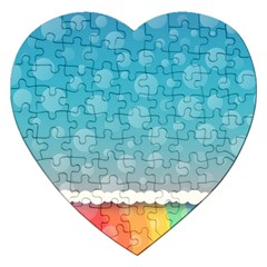 Rainbow Background Border Colorful Jigsaw Puzzle (heart) by Amaryn4rt
