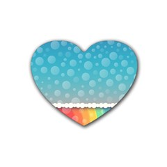 Rainbow Background Border Colorful Heart Coaster (4 Pack)  by Amaryn4rt