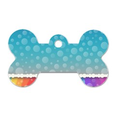 Rainbow Background Border Colorful Dog Tag Bone (two Sides) by Amaryn4rt