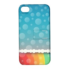 Rainbow Background Border Colorful Apple Iphone 4/4s Hardshell Case With Stand by Amaryn4rt