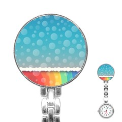 Rainbow Background Border Colorful Stainless Steel Nurses Watch by Amaryn4rt