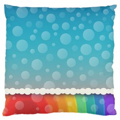 Rainbow Background Border Colorful Large Flano Cushion Case (two Sides) by Amaryn4rt