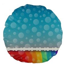 Rainbow Background Border Colorful Large 18  Premium Flano Round Cushions by Amaryn4rt