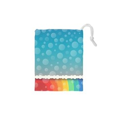 Rainbow Background Border Colorful Drawstring Pouches (xs)  by Amaryn4rt