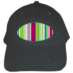 Beautiful Multi Colored Bright Stripes Pattern Wallpaper Background Black Cap by Amaryn4rt