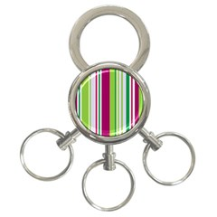 Beautiful Multi Colored Bright Stripes Pattern Wallpaper Background 3 Ring Key Chains by Amaryn4rt