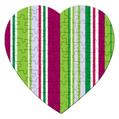 Beautiful Multi Colored Bright Stripes Pattern Wallpaper Background Jigsaw Puzzle (heart) by Amaryn4rt