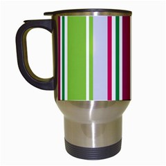 Beautiful Multi Colored Bright Stripes Pattern Wallpaper Background Travel Mugs (white) by Amaryn4rt