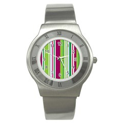 Beautiful Multi Colored Bright Stripes Pattern Wallpaper Background Stainless Steel Watch by Amaryn4rt