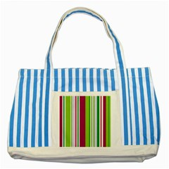 Beautiful Multi Colored Bright Stripes Pattern Wallpaper Background Striped Blue Tote Bag by Amaryn4rt