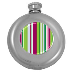 Beautiful Multi Colored Bright Stripes Pattern Wallpaper Background Round Hip Flask (5 Oz) by Amaryn4rt