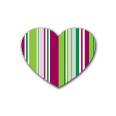Beautiful Multi Colored Bright Stripes Pattern Wallpaper Background Rubber Coaster (heart)  by Amaryn4rt