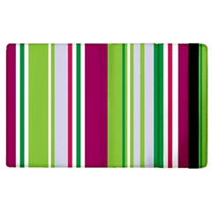 Beautiful Multi Colored Bright Stripes Pattern Wallpaper Background Apple Ipad 3/4 Flip Case by Amaryn4rt