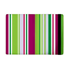 Beautiful Multi Colored Bright Stripes Pattern Wallpaper Background Apple Ipad Mini Flip Case by Amaryn4rt