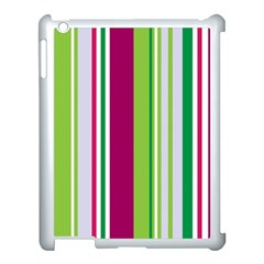 Beautiful Multi Colored Bright Stripes Pattern Wallpaper Background Apple Ipad 3/4 Case (white) by Amaryn4rt