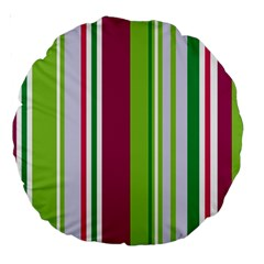 Beautiful Multi Colored Bright Stripes Pattern Wallpaper Background Large 18  Premium Round Cushions