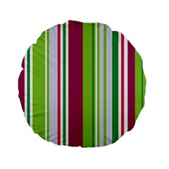 Beautiful Multi Colored Bright Stripes Pattern Wallpaper Background Standard 15  Premium Flano Round Cushions by Amaryn4rt