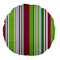 Beautiful Multi Colored Bright Stripes Pattern Wallpaper Background Large 18  Premium Flano Round Cushions by Amaryn4rt
