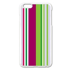 Beautiful Multi Colored Bright Stripes Pattern Wallpaper Background Apple Iphone 6 Plus/6s Plus Enamel White Case by Amaryn4rt