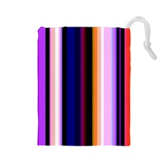 Fun Striped Background Design Pattern Drawstring Pouches (large)  by Amaryn4rt
