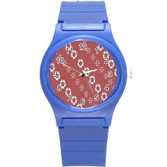 Abstract Pattern Background Wallpaper In Pastel Shapes Round Plastic Sport Watch (s) by Amaryn4rt