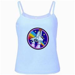 Badge Patch Pink Rainbow Rocket Baby Blue Spaghetti Tank by Amaryn4rt