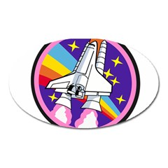 Badge Patch Pink Rainbow Rocket Oval Magnet by Amaryn4rt