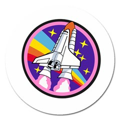 Badge Patch Pink Rainbow Rocket Magnet 5  (round) by Amaryn4rt