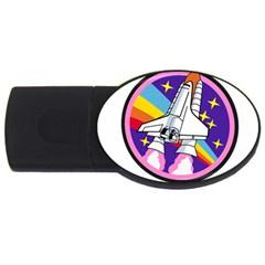 Badge Patch Pink Rainbow Rocket Usb Flash Drive Oval (2 Gb)