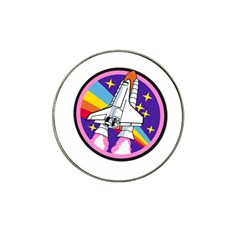 Badge Patch Pink Rainbow Rocket Hat Clip Ball Marker by Amaryn4rt