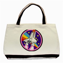 Badge Patch Pink Rainbow Rocket Basic Tote Bag by Amaryn4rt