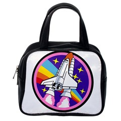 Badge Patch Pink Rainbow Rocket Classic Handbags (one Side) by Amaryn4rt