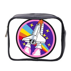Badge Patch Pink Rainbow Rocket Mini Toiletries Bag 2 Side by Amaryn4rt