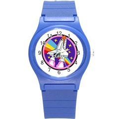 Badge Patch Pink Rainbow Rocket Round Plastic Sport Watch (s) by Amaryn4rt
