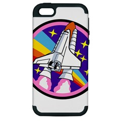 Badge Patch Pink Rainbow Rocket Apple Iphone 5 Hardshell Case (pc+silicone)
