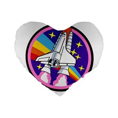 Badge Patch Pink Rainbow Rocket Standard 16  Premium Heart Shape Cushions by Amaryn4rt